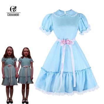 ROLECOS Women Halloween Costume The Shining Twins Cosplay Costume Sweet Lolita Dress Horror Movie Cosplay Girl Party Clothing