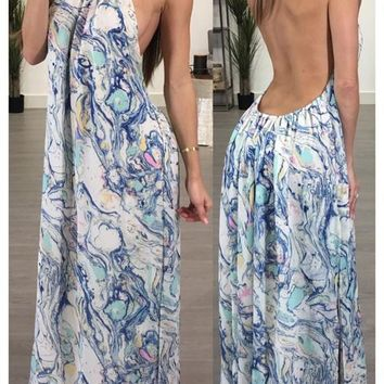 White Geometric Print Backless Draped Tie Back Halter Neck Bohemian Maxi Dress