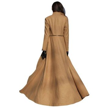 DCCKWQA Korean Fashion Fall Winter Women Maxi Coat Long Sleeve Chaquetas Mujer Zipper Ladies Work Casual Wool Long Peacoat Hot Sale