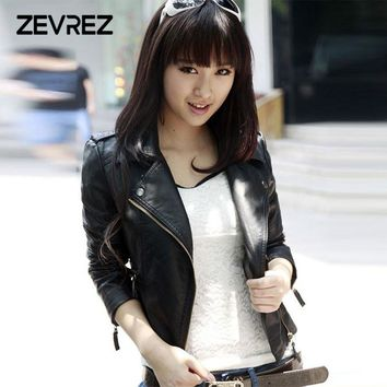 New Casual Leather Jacket Women Zipper Turn-down Collar Faux Leather Jacket Coat Ladies PU Moto Biker Jacket Zevrez