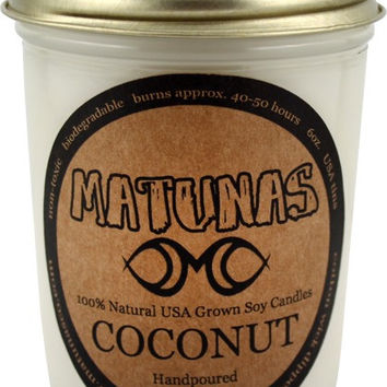 Matunas Soy Candle 6oz Glass- Coconut