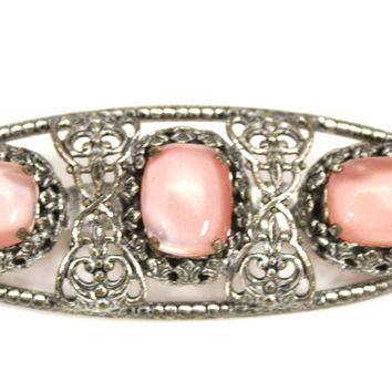 Vintage Czech Brooch Pale Pink Opalescent Cabochons White Metal Filigree 1930s 3""