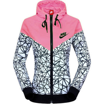 NIKE Women Zip Hooded Sweatshirt Jacket Cardigan Coat Windbreaker Sportswear