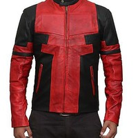 Ryan Reynolds Deadpool Red and Black Leather Jack - 100 % Money Back Guarantee..