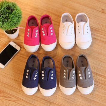 2017 New Autumn Children's Shoes Canvas Sneakers Boys And Girls Light Sets Footwear Baby's Flat Cotton Shoes Toddler's Sports