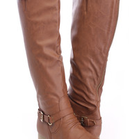 Tan Stitched Mid Calf Boots Faux Leather