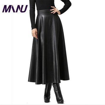 High Quality Pu Faux Leather 6XL 7XL Plus Size Spring Long Maxi Jupe Taille Skirt 2015 Fashion Solid Bodycon Jupe Femme