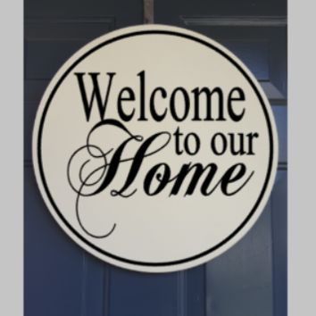 "18"" Round Welcome Sign - Custom Door Sign - Hand Painted Solid Wood"