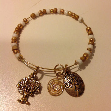 Tree of Life Bracelet, Horseshoe Charm Bracelet, Stacking Bracelet, Seed Bead Bracelet, Alex and Ani Style Bracelet, Adjustable Bracelet