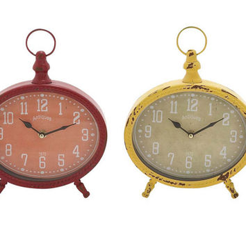 Benzara The Rustic and Colourful Metal Desk Clock 4 Assorted