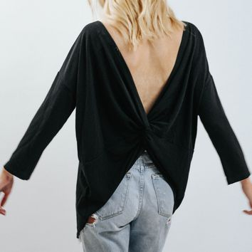 WP Long Slv Low Back Knot Top (Black)