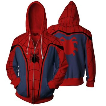 Fall Autumn Hooded Zipper Sweater Cardigan Sweater Printing Cosplay Superhero Party Spiderman Boys Girls Sweaters Unisex Clothes
