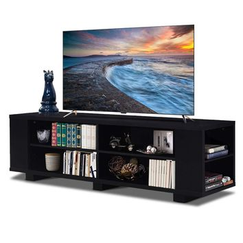 "Tangkula TV Stand, Modern Wood Storage Console Entertainment Center for TV up to 60"", Home Living Room Furniture with 8 Open Storage Shelves (Black)"
