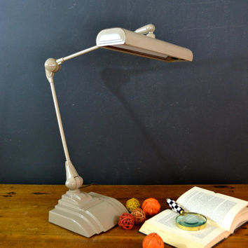Vintage Industrial Art Deco Desk Lamp, Art Specialty Co. Chicago Flexo Florescent Desk Lamp, Drafting Light
