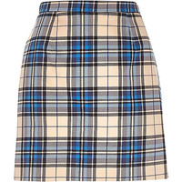 River Island Womens Blue check A-line skirt