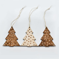 FREE SHIPPING - Christmas Tree Woodburned Ornament set of 3 - Polka Dot Pyrography Christmas Tree - Beige and Brown Wood Decoration