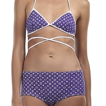 Bling Tie Up Purple Bikini - 50% OFF