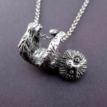 Adorable Derpy Sloth Shaped Statement Pendant Necklace in Silver