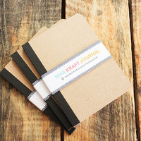 Mini Recycled Natural Kraft Covered Journal - Get creative and personalize it anyway you want - Makes great party favors, stocking stuffer