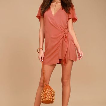 Vashti Rusty Rose Wrap Dress