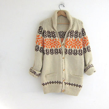 Vintage hand knit sweater. chunky wool sweater. oversized cardigan sweater. ethnic sweater with toggles.