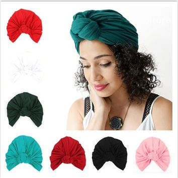 2018 Indian Turban Headband Knot Hat Head Wrap Bandana Hair Bands Accessories Women Girls Stretchy Cloche Cap Scrunchy Headdress