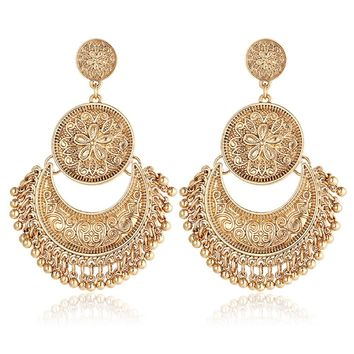 Rinhoo Vintage Retro Ethnic Bohemian Style Fringes and Floral Tassels Brocade Lotus Mexico Gypsy Drop Dangle Earring Women Girls Jewelry
