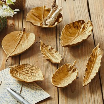 Gold Cast Leaves - Set of 7