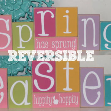 Reversible Spring & Easter Blocks- Spring Decor, Easter Decor, Spring Wood Blocks, Easter Wood Blocks, Reversible wood blocks,