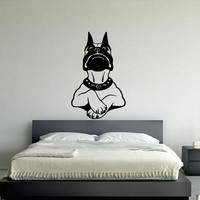 Wall Decor Vinyl Sticker Room Decal Art Tattoo Boston Terrier Family Dog Looking At You Funny 1175