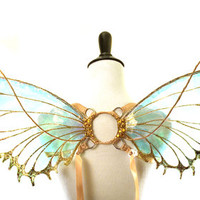 Tyche No.12 - Small Cellophane Fairy Wings in Gold Glitter