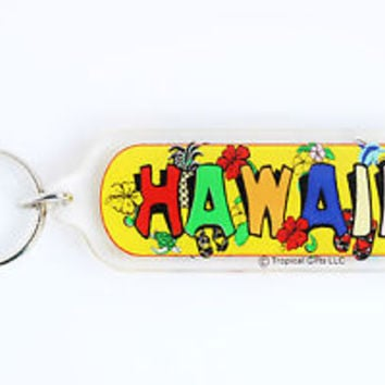 HOT VINTAGE COLORFUL HAWAII KEYCHAIN, COLLECTABLE ITEM, 60s - 70s, USED