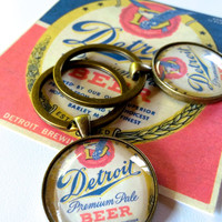 READY TO SHIP Detroit Keychain made from Image of Vintage Beer Label