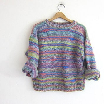 vintage colorful cropped sweater. hand knit pullover sweater. women's sweater
