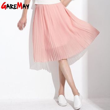 Long Chiffon Skirts Summer Pleated Black White Skirt School Maxi Bohemian Skirt For Women