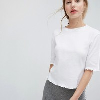 Plain Studios T-Shirt With Crinkle Frill Hems at asos.com