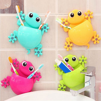 1pc Bathroom Accessories Cute Cartoon Gecko Design Toothbrush Holder Suction Organizer Toothbrush Holder Cup Wall Mount Sucker