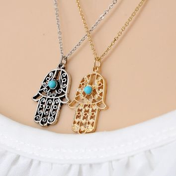 Vintage Kolye Brand Design Gold Silver plated Luck Hamsa Hand Pendants Necklace Fatima Hand Palm  Necklace collares