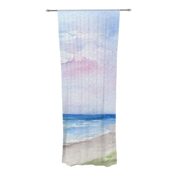 "Rosie Brown ""Wet Sand"" Beach View Decorative Sheer Curtain"