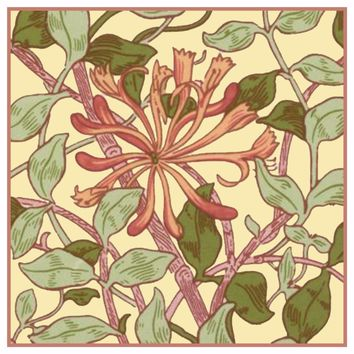 Pink Honeysuckle Flower by William Morris Design Counted Cross Stitch or Counted Needlepoint Pattern