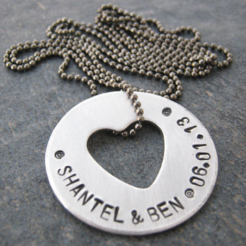 Personalized Heart Washer Necklace for Couples