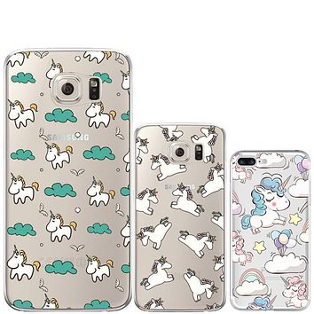 Unicorn for Coque iPhone 7 7 Plus 5 5S 5C SE 6 6S Plus Case for Samsung Galaxy S3 S4 S5 S6 S7 Edge J3 j5 A3 A5 2016 2017 Cover