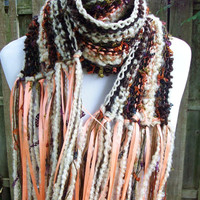 Autumn Toned Hand Knit Scarf Ribbon Accent Brown and Cream with Peach HIghlights Warm Winter Fashion