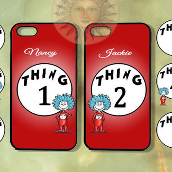 Customized Thing 1 and thing 2 two Cases-iPhone 5, iphone 4s, iphone 4 case, Samsung GS3-Silicone Rubber or Hard Plastic Case, couple cover