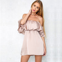 New Off Shoulder Ruffled Satin Party Dress