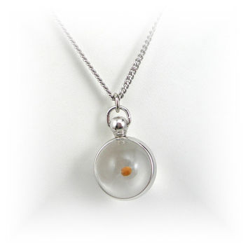 """Mustard Seed Pendant Necklace, Silvertone with Matching 18"""" Chain, circa 1950s, Faith, Good Luck Charm Amulet"""