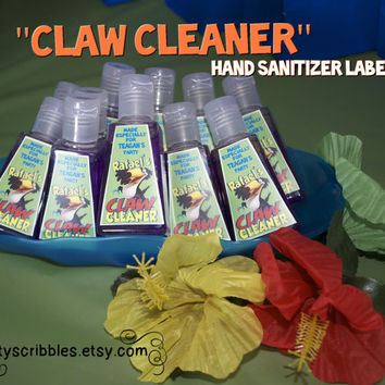 "RIO Birthday ""Claw Cleaner"" Labels Personalized Printable DIY"