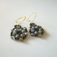 Statement Earring || Beadwork || Grey || Iris || Brown || Dangling Earrings || Fall trends Jewelry || Minimal || Accessories || Wedding