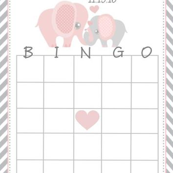 10 Pink Elephant Baby Shower Bingo Cards