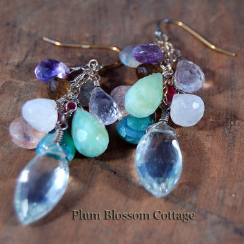 Gorgeous Multi-Stone Faceted Briolette Cascading Earrings, Oxidized Sterling Silver
